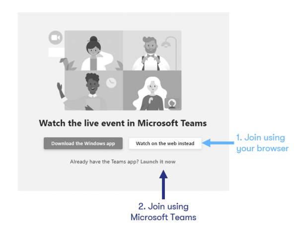 Join an event using your browser or Microsoft Teams