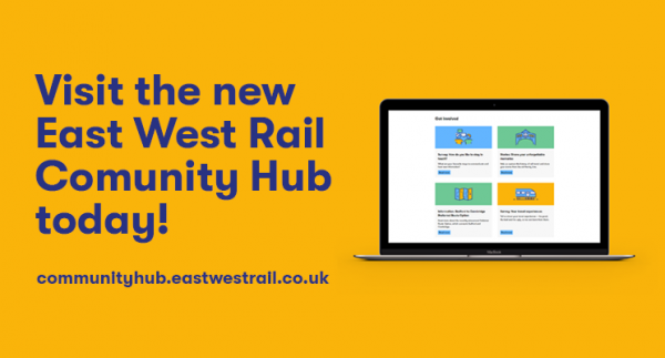 A picture of a latop with the text: Visit the new East West Rail Community Hub today! - communityhub.eastwestrail.co.uk
